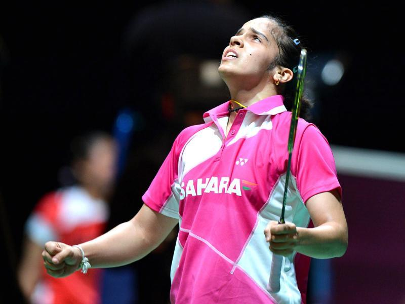 Saina Nehwal reacts after winning against China's Wang Shixian during their All England Open Badminton Championships women's singles quarter-final match in Birmingham, acentral England. AFP/Ben Stansall