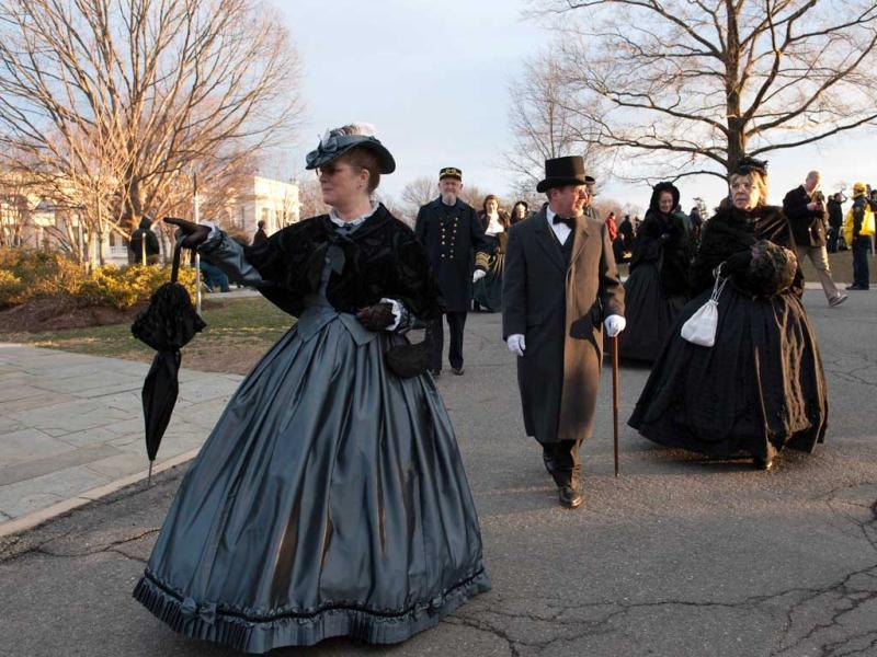 Civil War enthusiasts in period clothing depart a funeral service for two unknown sailors who were killed in 1862 when the Civil War ironclad USS Monitor sank off the coast of North Carolina at Arlington National Cemetery in Arlington, Virgina. AFP photo