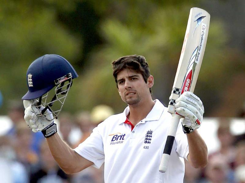 England's captain Alastair Cook celebrates reaching a century during the fourth day of their first Test match against New Zealand at the University Oval in Dunedin. Reuters/David Gray
