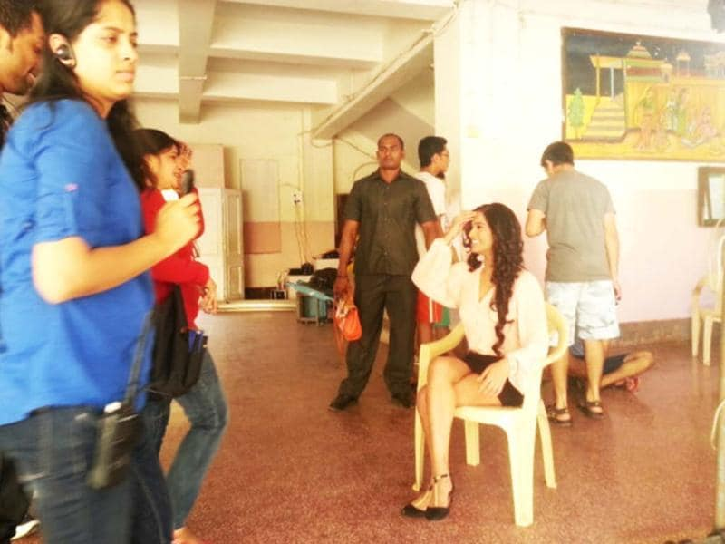 Poonam Pandey at the sets of Nasha, her debut Bollywood film.