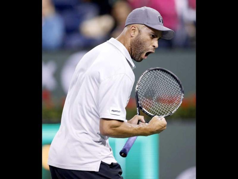 James Blake of the US celebrates winning a point against Jo-Wilfried Tsonga of France during their match at the BNP Paribas Open ATP tennis tournament in Indian Wells, California. Reuters photo
