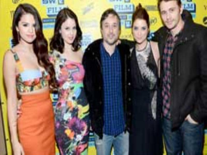 Actresses Selena Gomez, Rachel Korine, Ashley Benson, director Harmony Korine, and actor James Franco attend the green room for