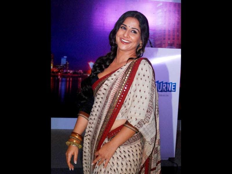 Vidya Balan looks pretty in her signature style at the event.