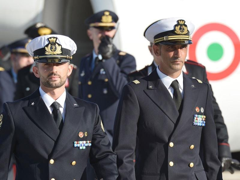In this file photograph, Italian marines Massimiliano Latorre (R) and Salvatore Girone (L) arriving at Ciampino airport near Rome. AFP photo