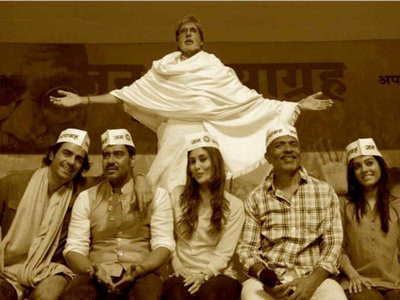 Prakash Jha's upcoming multi-starer Satyagraha – Democracy Under Fire is said to be inspired from the recent anti-corruption movement that brought political discussions out of our drawing rooms right to the streets. We bring you pictures from the political thriller. Amitabh Bachchan, Kareena Kapoor, Ajay Devgn, Arjun Rampal and Amrita Rao feature in the movie, apart from other prominent names. (Photo Courtesy: Facebook)
