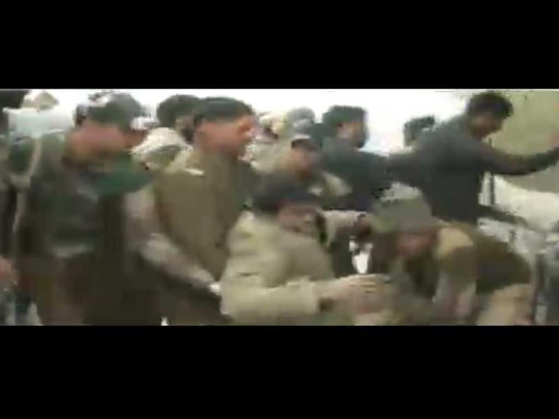 TV grab of the scene of attack at the CRPF camp in Srinagar.