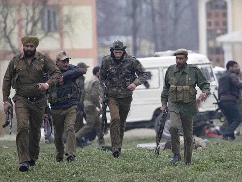 Police and CRPF secure the area after the gun battle. AP/Dar Yasin
