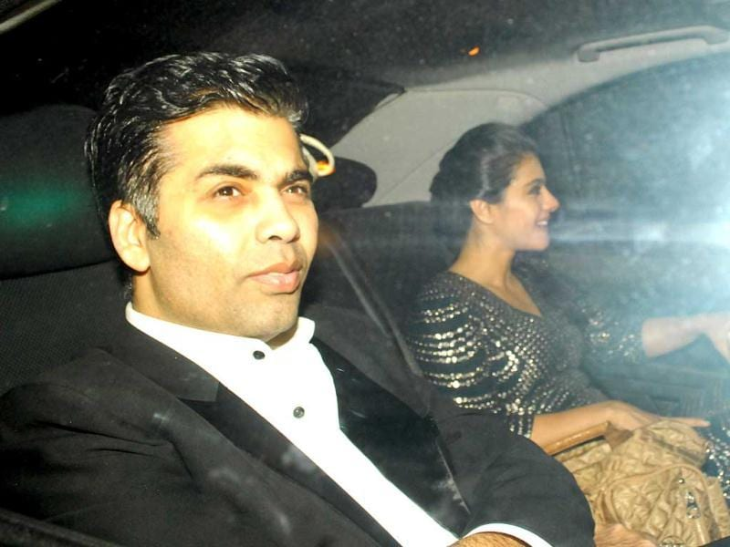 Karan Johar and Kajol came together for the party. (HT Photo by Prodip Guha)