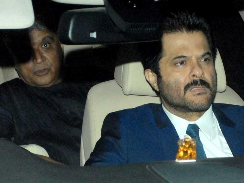 Anil Kapoor and lyricist Javed Akhtar arrived together for the Spielberg party. (HT Photo by Prodip Guha)