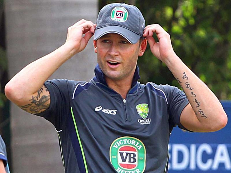 Australian captain Michael Clarke during a practice session in Mohali ahead of the 3rd test match. (PTI)