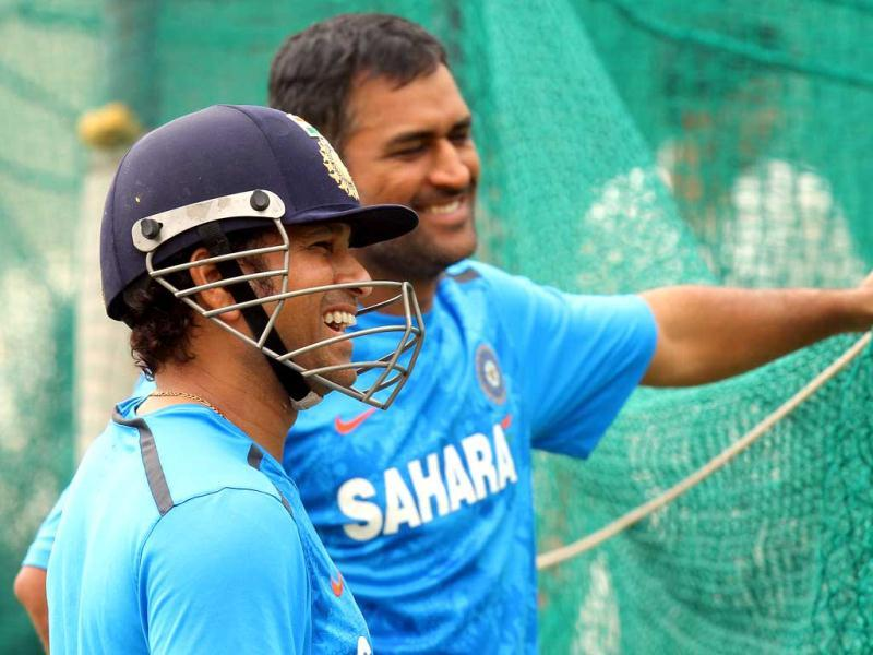 Sachin Tendulkar with MS Dhoni during the net practice session ahead of their 3rd Test match against Australia, which is played at PCA Stadium, Mohali. Gurpreet Singh/HT