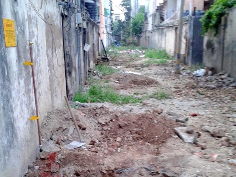 Sanjay Sood from Greater Kailash Enclave 1 says that the roads in his colony have started to wear off and potholes have begun to appear due to the fact that there is no drainage system in the area. Courtesy Sanjay Sood