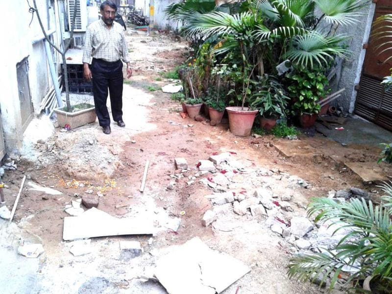 Sood says that the condition has worsened after IGL dug up the area to lay underground pipes and the contractor left without filling up the pits. Courtesy Sanjay Sood