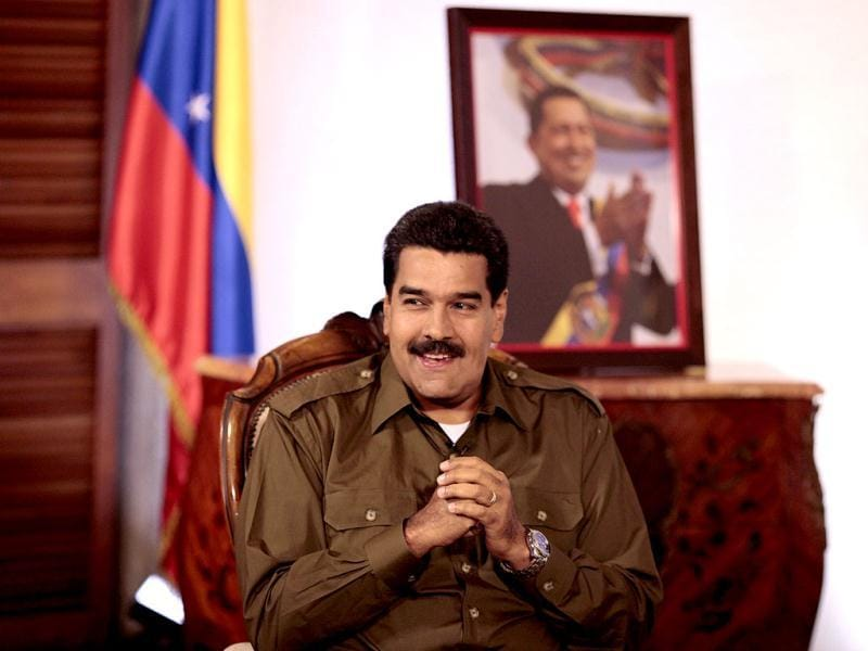 Acting Venezuelan President Nicolas Maduro speaks during an interview with Venevision television network in Caracas in this picture provided by the Miraflores Palace. (Reuters)