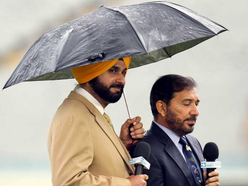 Navjot Singh Sidhu, former cricket player and commentator, seen on the first day of the third Test match in Mohali. Gurpreet Singh/HT