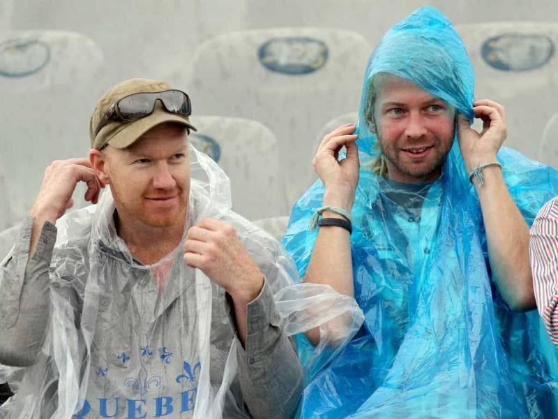 Australian cricket fans seen waiting for the weather to clear on the first day of 3rd Test match played at PCA stadium, Mohali. Gurpreet Singh/HT
