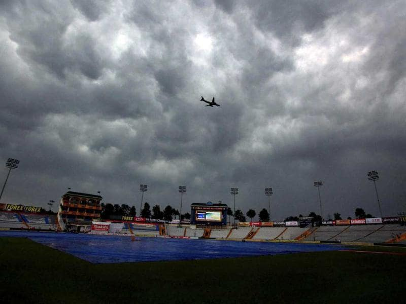 Dark clouds hover over PAC Stadium in Mohali hosting the third Test match between Australia and India. (PTI)