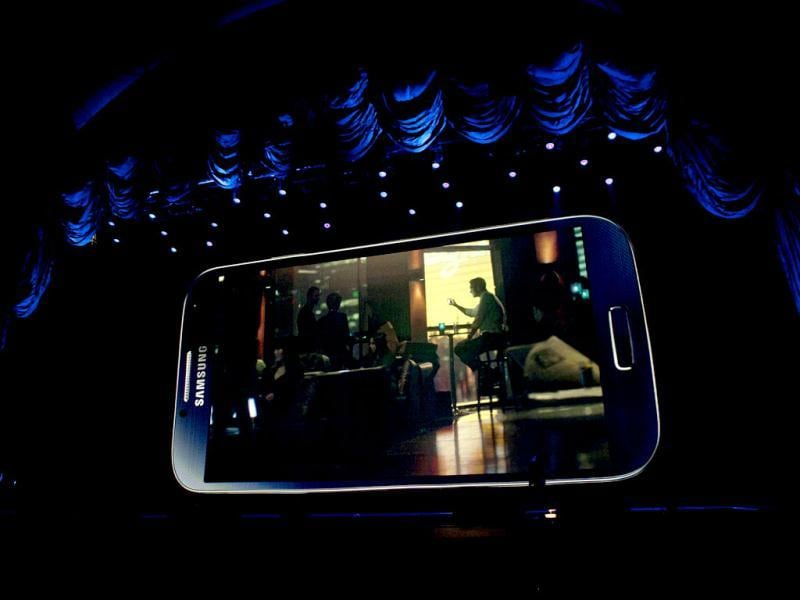 Samsung introduces the Samsung Galaxy S4 after its launch at the Radio City Music Hall in New York. AFP photo