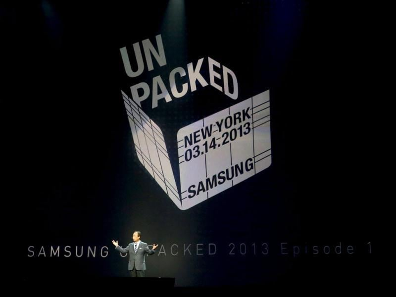 JK Shin, president and head of IT and mobile communication division, introduces Samsung Electronics Co's latest Galaxy S4 phone during its launch at the Radio City Music Hall in New York. Reuters photo