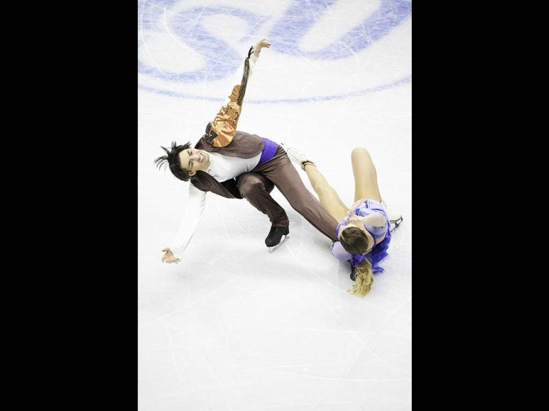 Alisa Agafonova and Alper Ucar compete for Turkey during the Ice Dance Short Program at the 2013 World Figure Skating Championships in London, Ontario, Canada.  (AFP Photo)