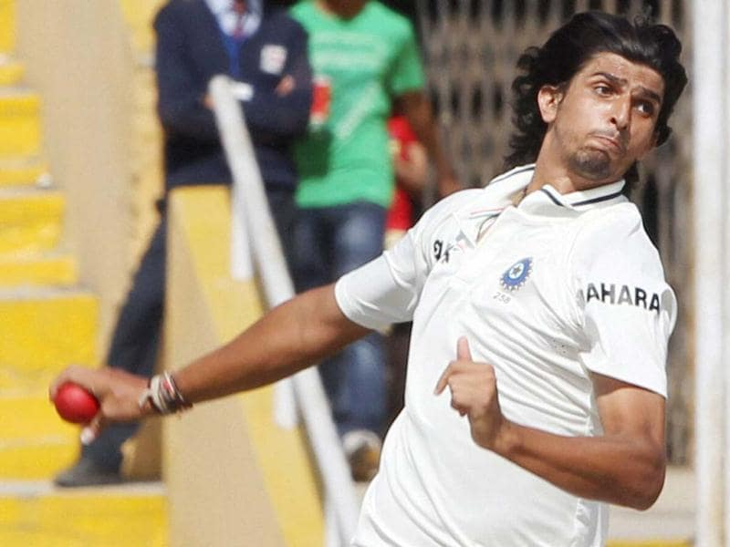 Ishant Sharma bowls on the second day of the 3rd Test match against Australia at PCA Stadium in Mohali. (PTI)