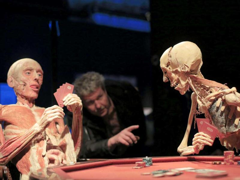 A visitor looks at a plastinated body staged as poker players, displayed at the