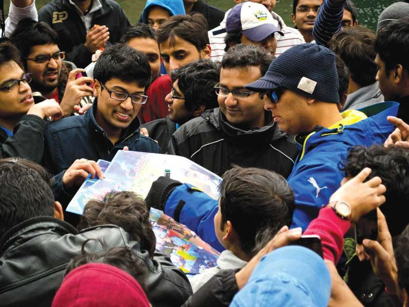 Signing autographs after a very long time. With a group of Indian students and NRIs in Indianapolis (Photo by Nishant Arora)