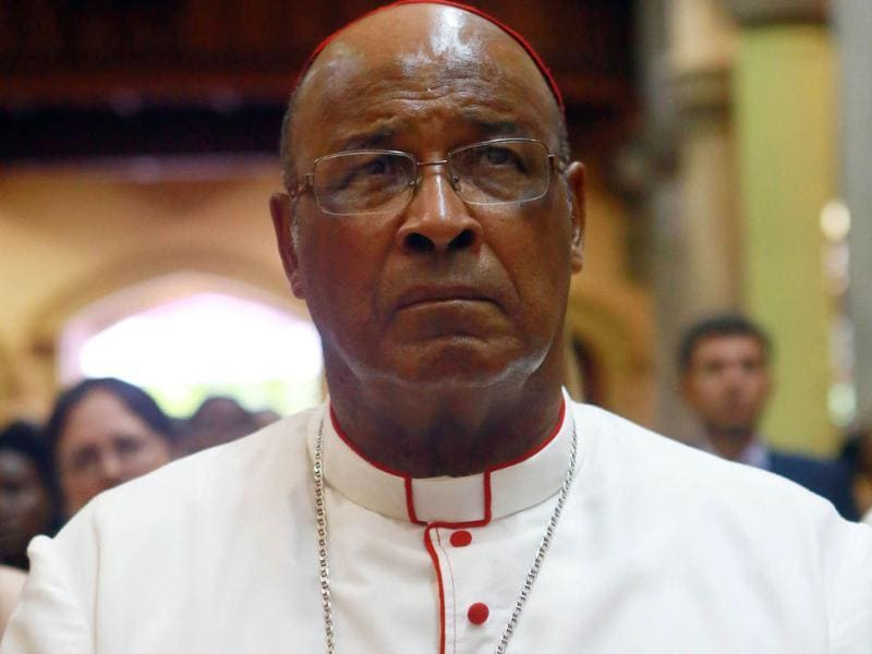 In this file photo, head of the Catholic Church in South Africa, Cardinal Wilfrid Napier, comemmorates the late Archbishop Denis Hurley's 9th death anniversary at the Emmanuel Cathedral Church in Durban. AFP/Rajesh Jantilal/Files