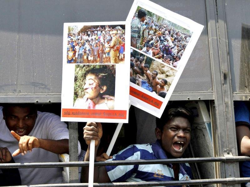 Students shout slogans from inside a bus during a protest in Chennai against the war crimes committed by Sri Lanka. Reuters photo