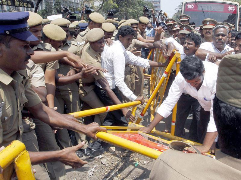 Police preventing lawyers during the demonstration in front of Customs House demanding a United Nations Referendum for Tamil Eelam in Sri Lanka, in Chennai. UNI photo
