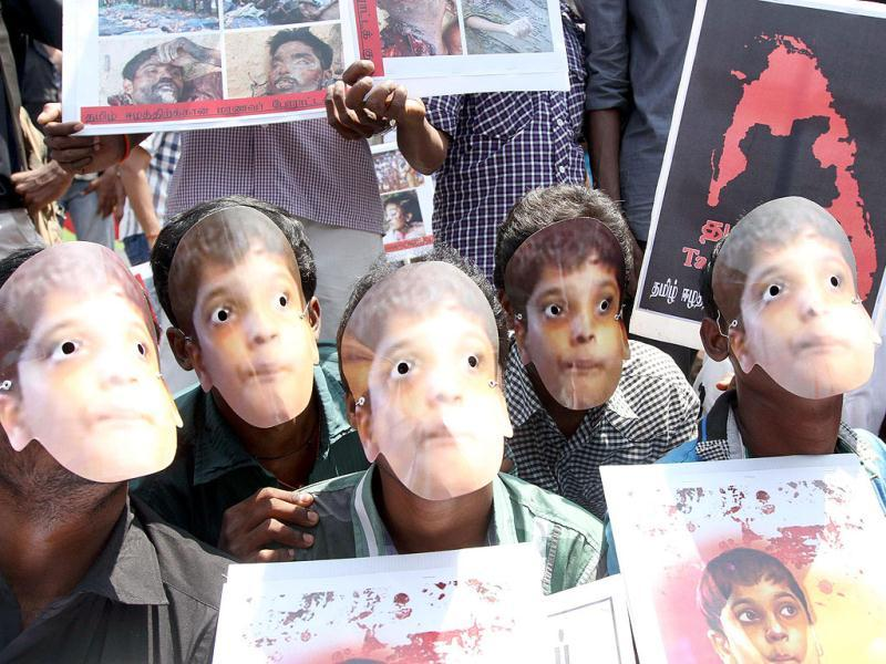Activists of the Students Struggle Committee for Tamil Eelam (SSCTE) wearing mask of LTTE leader Prabhakaran's son Balachandran in a demonstration against Sri Lanka, in Chennai. UNI photo