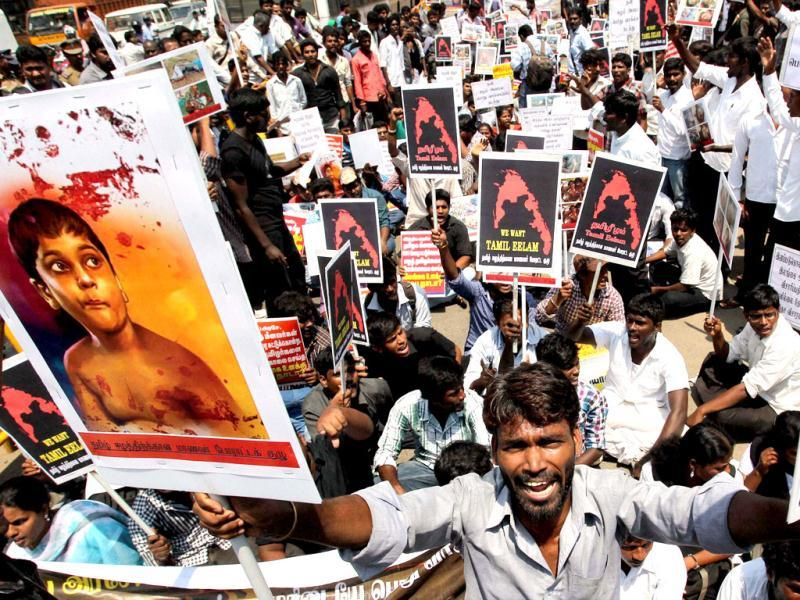 Students' during a protests against Srilanka for alleged human rights violations in Chennai. PTI Photo