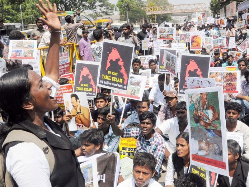 Activists of the Students Struggle Committee (SSCTE) for Tamil Eelam stage a demonstration against Sri Lanka, in Chennai. UNI photo