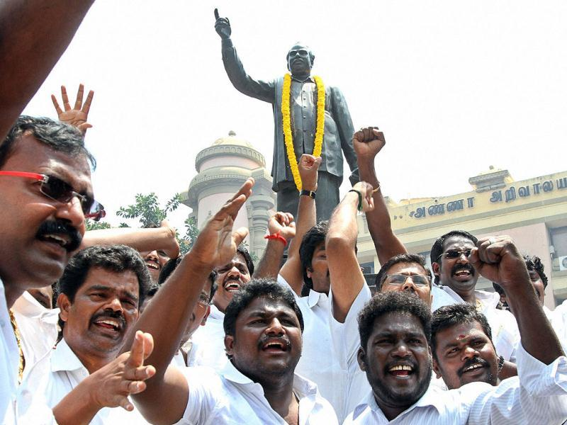 DMK party workers celebrate after party chief M Karunanidhi announced the withdrawal of support from the UPA Government in Chennai. PTI Photo