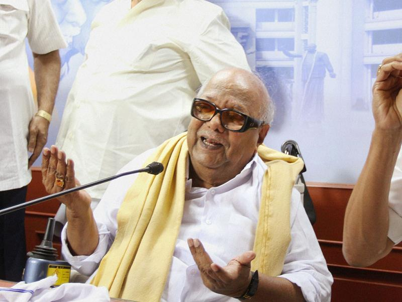 DMK chief M Karunanidhi addresses at a press conference in Chennai. PTI