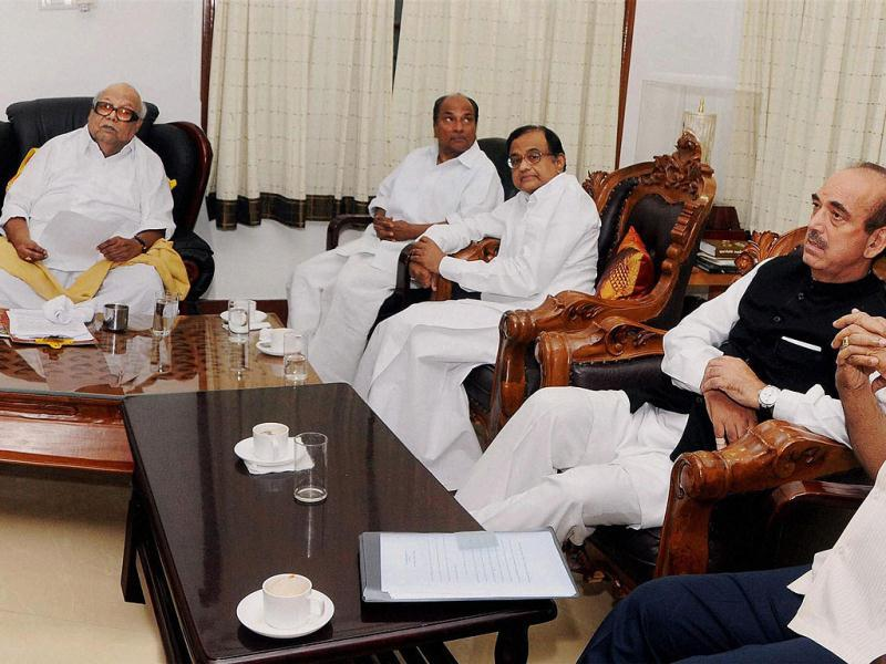Union ministers and Congress leader AK Antony, Ghulam Nabi Azad and P Chidambaram during a meeting with DMK chief M Karunanidhi and other leaders of DMK at his residence in Chennai. PTI Photo