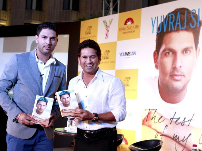 Cricketers Sachin Tendulkar and Yuvraj Singh at the book launch of the latter in New Delhi. Photo by Virendra Singh Gosain/Hindustan Times