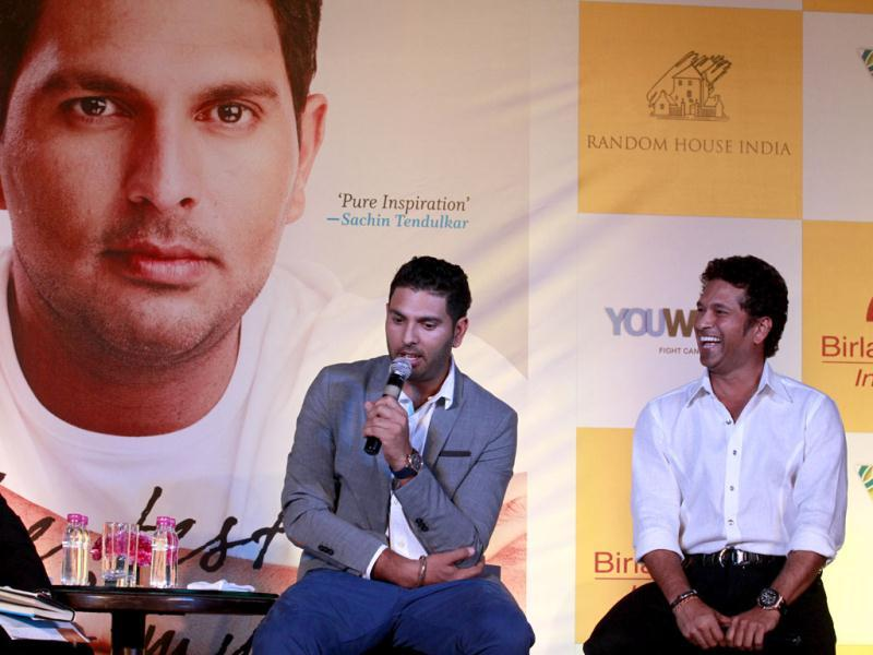 Cricketers Sachin Tendulkar and Yuvraj Singh at the book launch of the latter in New Delhi. Photo by Virendra Singh Gosain/Hindustan Time