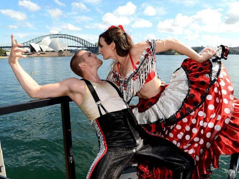 Dancers Kate Wormald and Joel Rasmussen, perform on a special harbour-top opera stage on Sydney Harbour. After months of preparation Opera Australia will begin a three week run of their