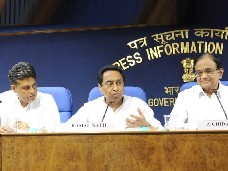 Parliamentary affairs minister Kamal Nath flanked by finance minister P Chidambaram and information broadcasting minister Manish Tiwari addressing a press conference after the GoM in New Delhi. UNI