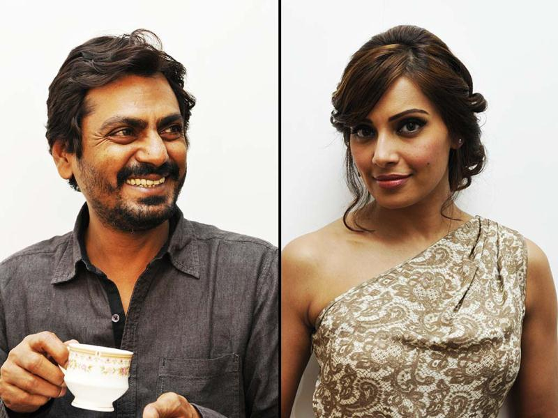Nawazuddin Siddiqui and Bipasha Basu visited HT House on Wednesday for promotions of their upcoming Aatma. Bipasha Basu sizzled at her best. Take a look. (HT Photo)