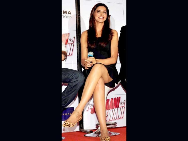 Deepika Padukone put on a VERY Little Black Dress (LBD) and animal print pumps for the trailer launch of her film Yeh Jawaani Hai Deewani (AFP Photo)