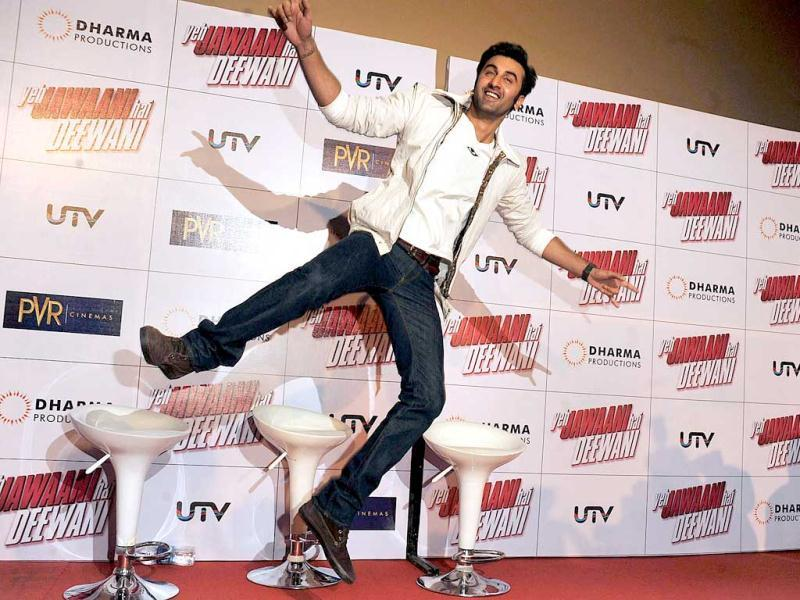 Up in the air! Ranbir Kapoor poses mid-air during the theatrical launch of upcoming Hindi Film Yeh Jawaani Hai Deewani directed by Ayan Mukerji and produced by Karan Johar. (AFP Photo)