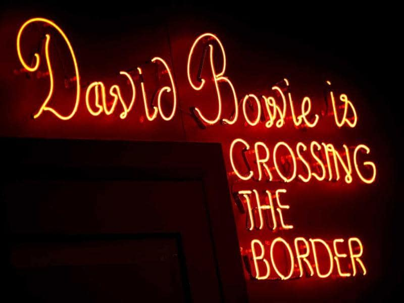 A neon sign is seen at the 'David Bowie is' Exhibition at the Victoria and Albert Museum in London. (Reuters)