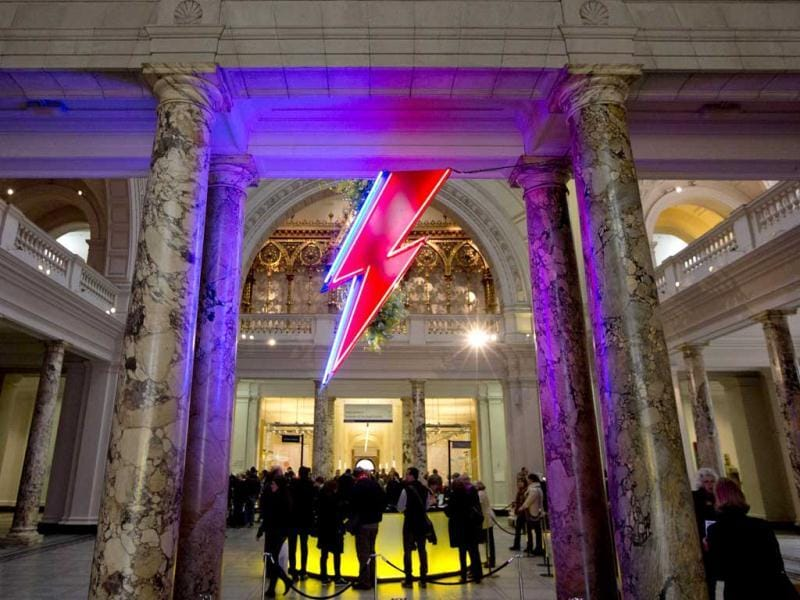 A neon flash representing David Bowie's 'Aladdin Sane' stage character is seen at the entrance to the Victoria and Albert Museum to mark the 'David Bowie is' exhibition in London. (Reuters)