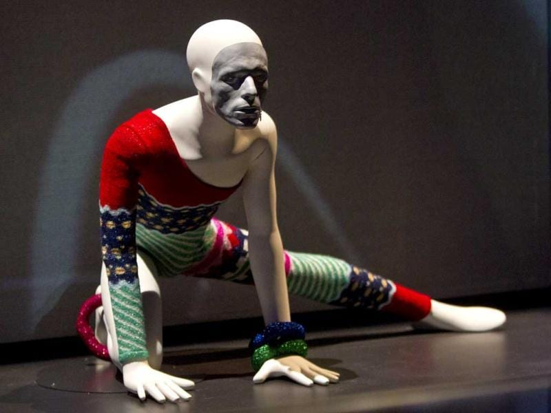 An outfit David Bowie wore on stage as Ziggy Stardust is photographed as part of a retrospective Bowie exhibition, entitled David Bowie Is, at the V&A Museum in west London. (AP Photo)