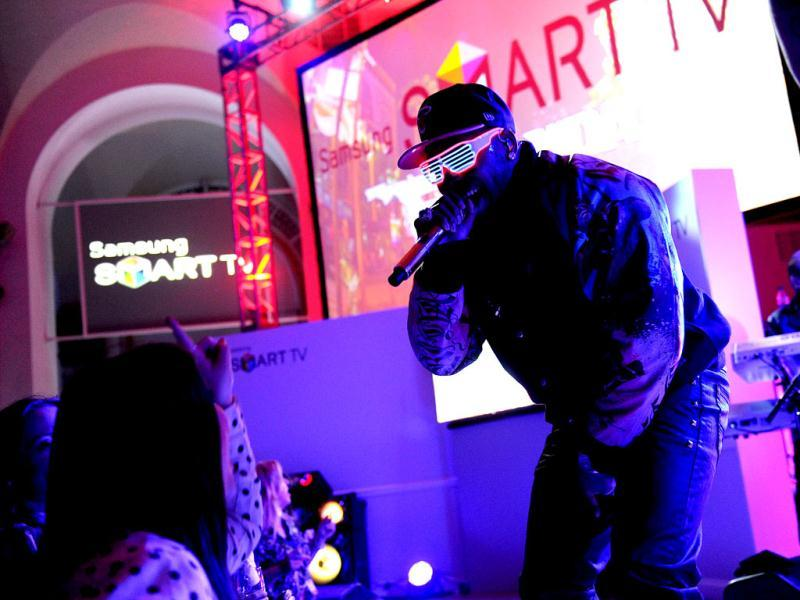 Hip-hop artist Flo Rida performs at a launch event for the new line of 2013 Samsung Smart TVs in New York. (AP/Invision for Samsung)