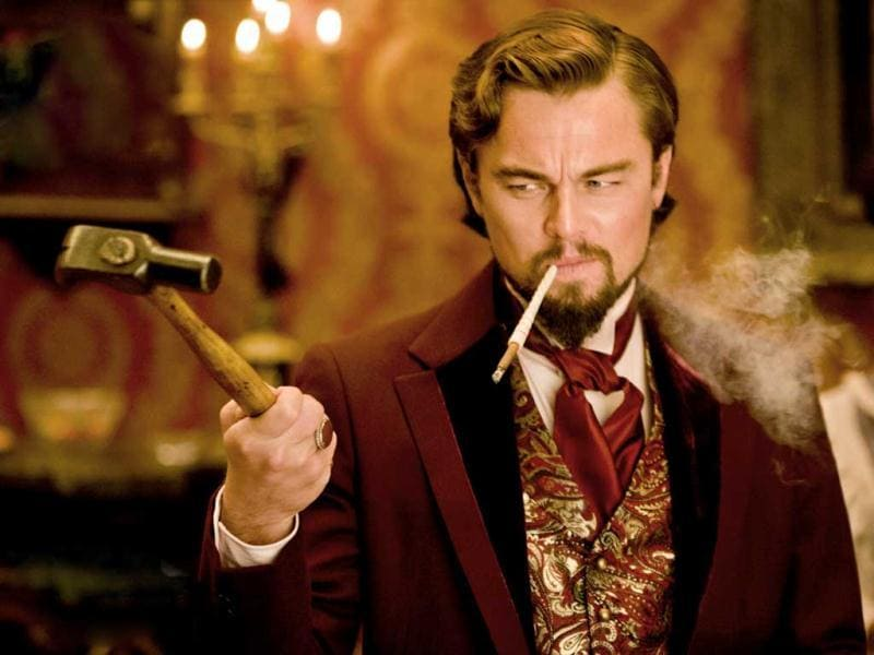 Leonardo DiCaprio as the heartless Calvin Candie in a still from Django Unchained.