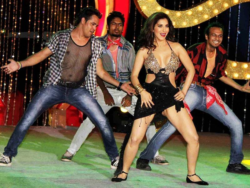 Sophie Choudry performs during the music launch for the upcoming film Shootout At Wadala in Mumbai. (AFP Photo)