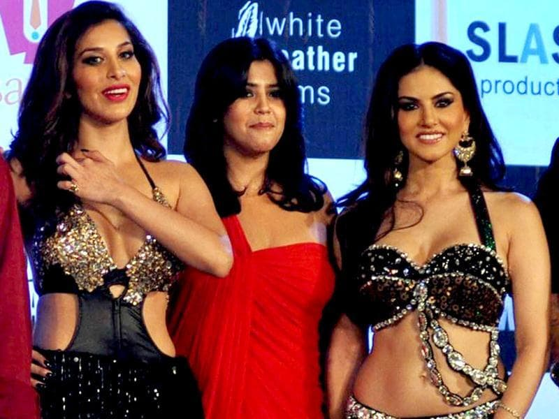 Sophie Choudry (L), actress Sunny Leone (R) and producer Ekta Kapoor pose during the music launch for the upcoming film Shootout At Wadala in Mumbai on March 19, 2013. (AFP Photo)